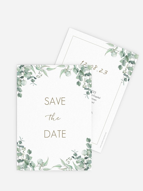 Save-the-Date Karte Soft Greenery
