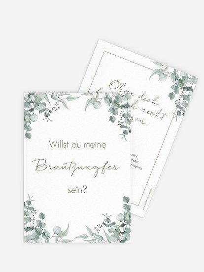 Trauzeugenkarten Soft Greenery