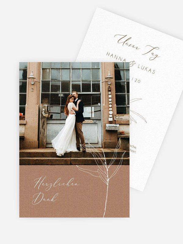 Dankeskarte Hochzeit Vintage Olive