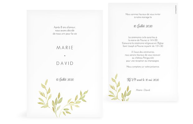 Faire-part de mariage Simple Green