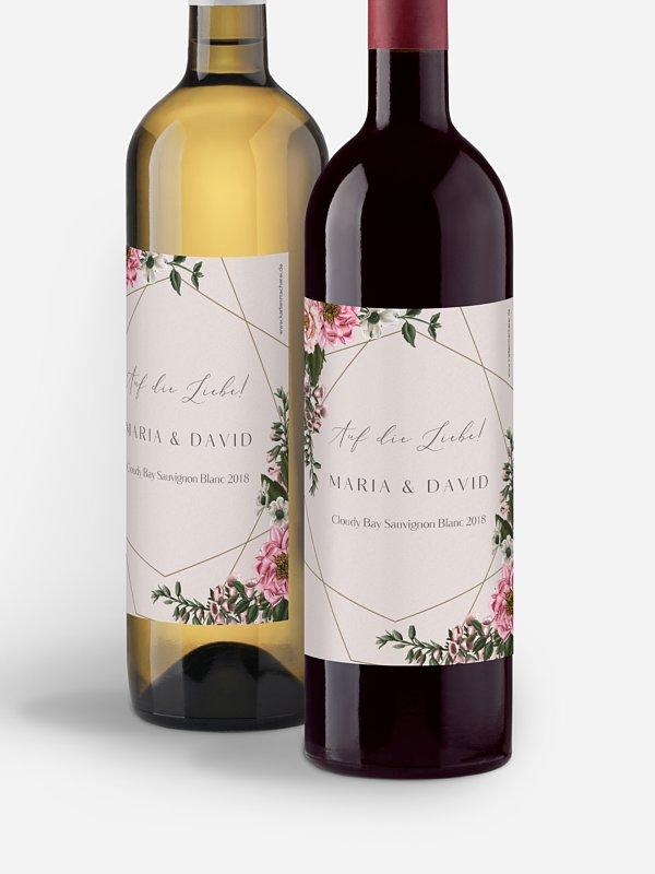 Flaschenetikett Hochzeit In Bloom