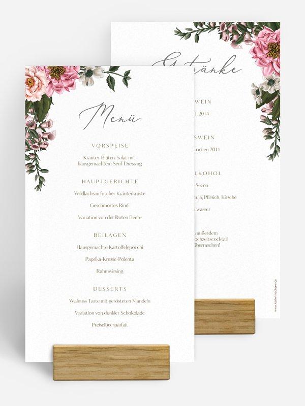 Menükarte Hochzeit In Bloom