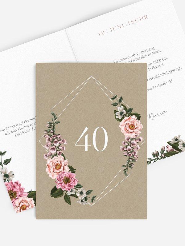 Einladung 40. Geburtstag Florista