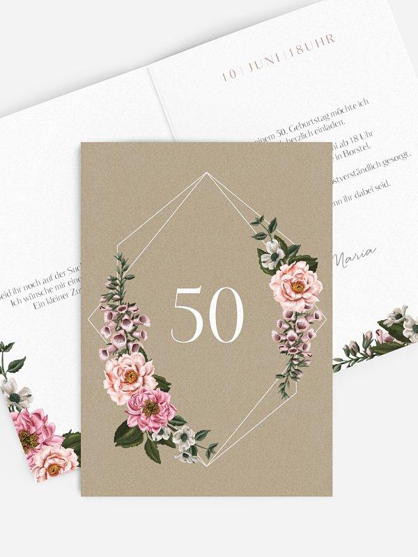 Einladung 50. Geburtstag Florista