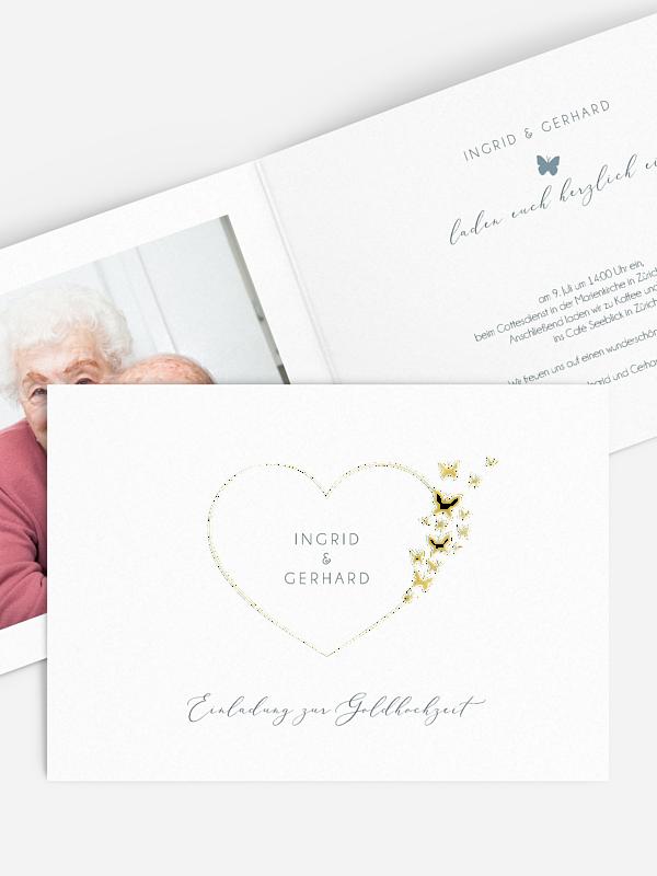 Einladung zur Goldenen Hochzeit Delicate