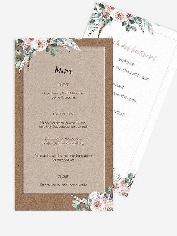 Menu mariage Blooming
