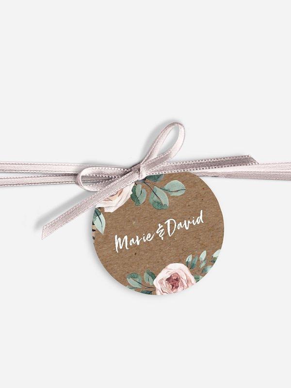 Étiquette avec ruban Blooming