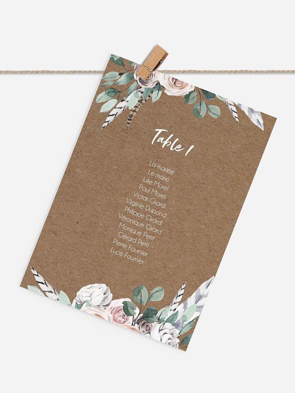Cartons plan de table mariage Blooming