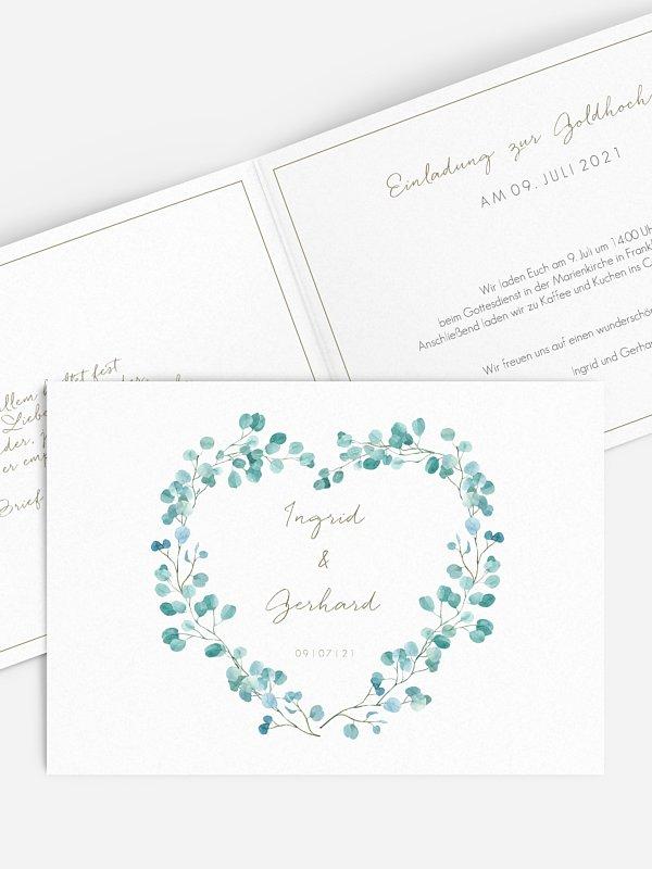 Einladung zur Goldenen Hochzeit Green Love