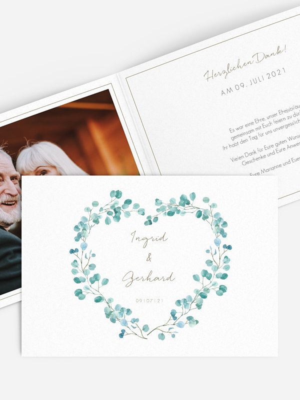 Danksagung zur Goldenen Hochzeit Green Love