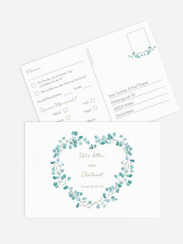 Antwortkarte Hochzeit Green Love