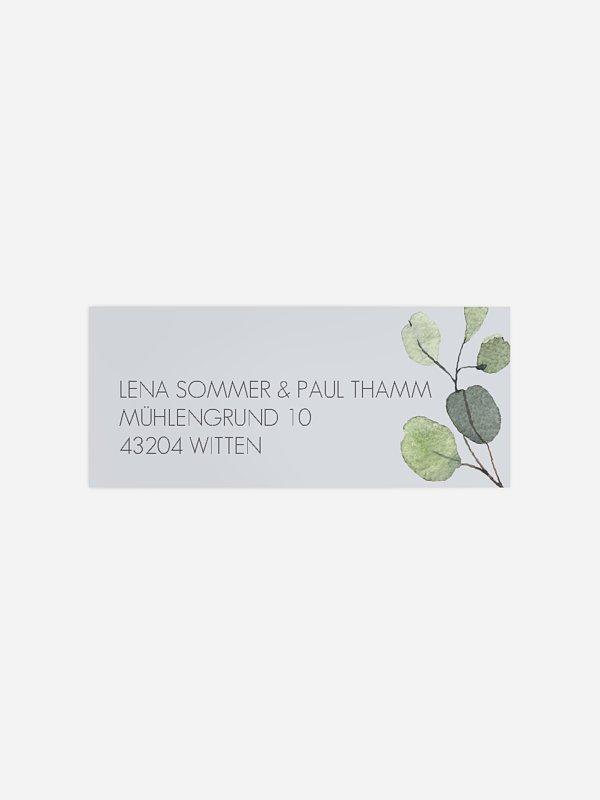 Absenderaufkleber Hochzeit Eucalyptus Leaves