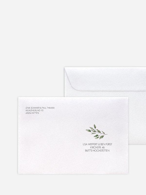 Bedruckter Briefumschlag Hochzeit Eucalyptus Leaves