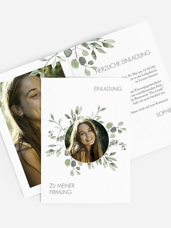 "einladungskarten firmung ""eucalyptus leaves"""