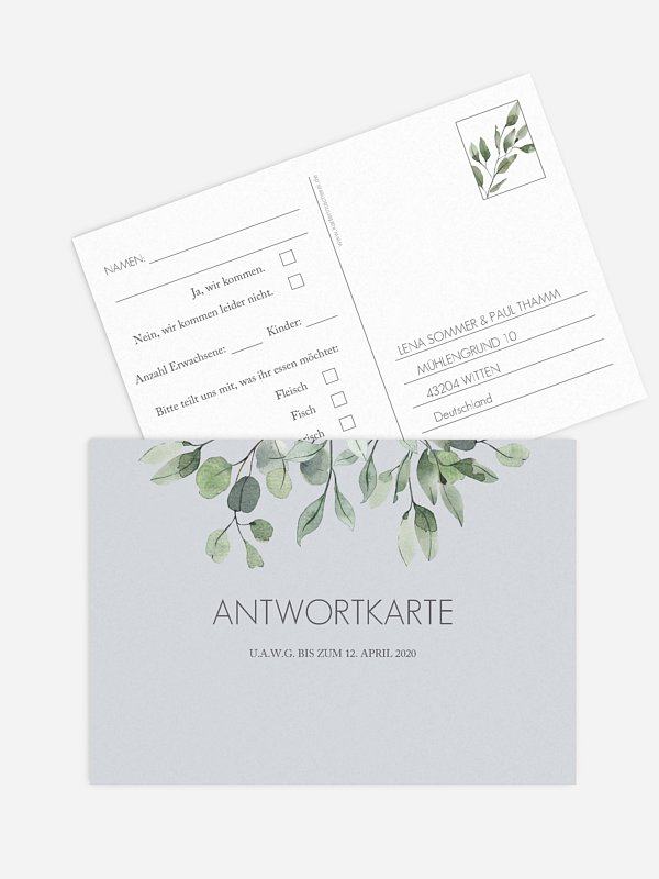 Antwortkarte Hochzeit Eucalyptus Leaves
