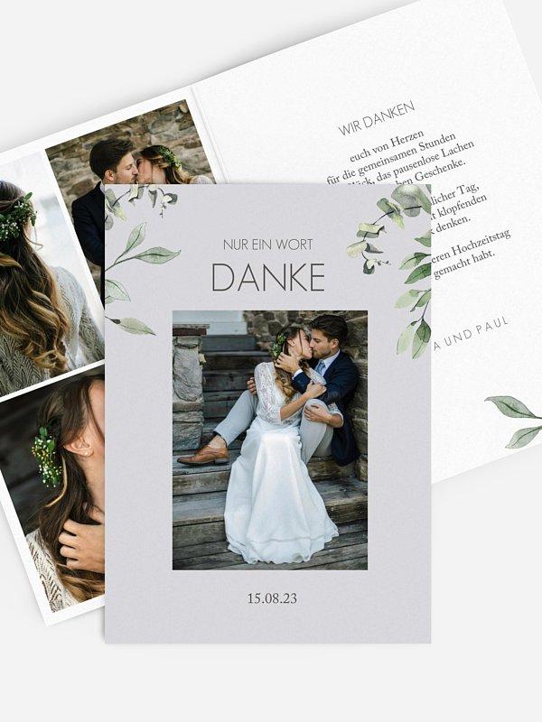 Dankeskarte Hochzeit Eucalyptus Leaves