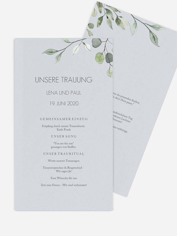 Kirchenheft Hochzeit Eucalyptus Leaves