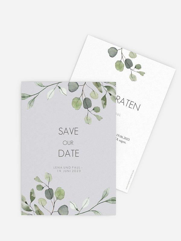 Save-the-Date Karte Eucalyptus Leaves