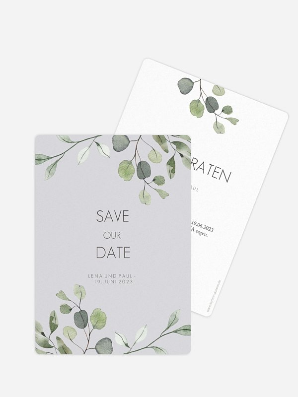 Save-the-Date Karte Eucalyptus Leaves