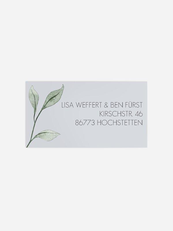 Empfängeraufkleber Hochzeit Eucalyptus Leaves