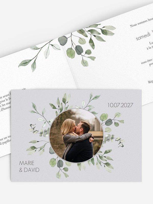 Faire-part de mariage Feuilles d'eucalyptus