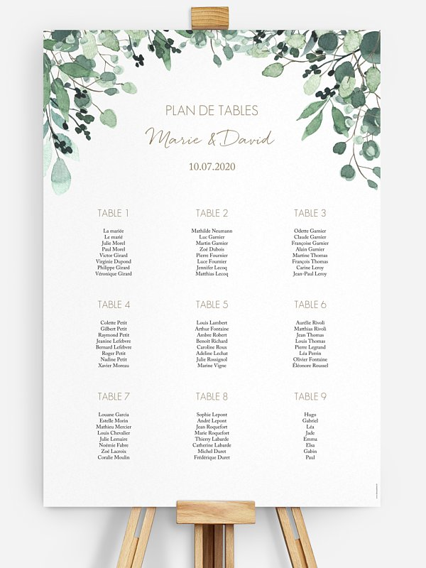 Poster plan de table mariage All The Greenery