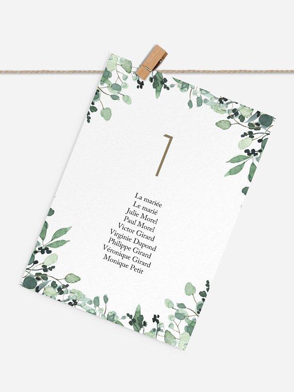 Cartons plan de table mariage All The Greenery