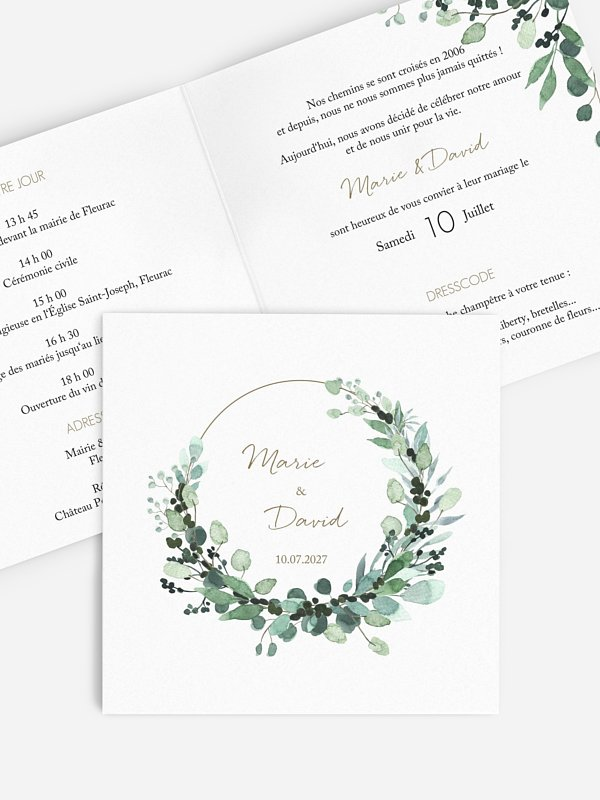 Faire-part de mariage All The Greenery