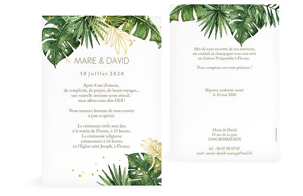 Faire-part de mariage Green Paradise