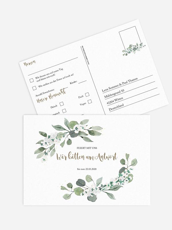 Antwortkarte Hochzeit Powder Green