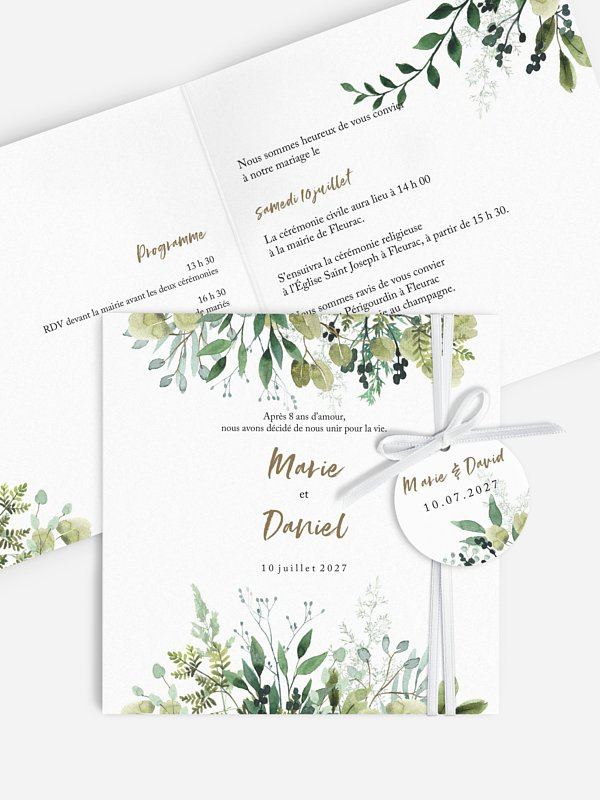 Faire-part de mariage Green Magic