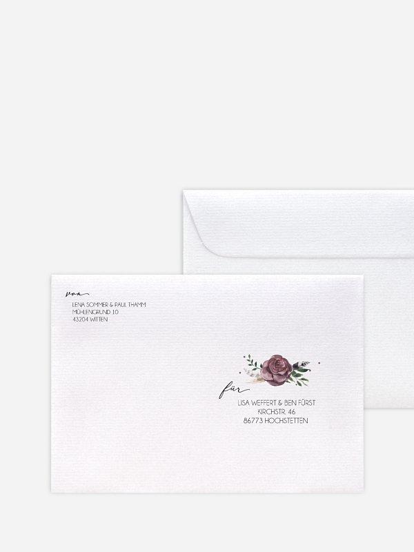 Bedruckter Briefumschlag Hochzeit Bohemian Summer