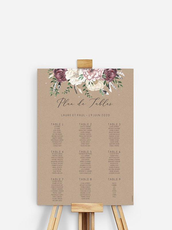 Poster plan de table mariage Bohemian Summer