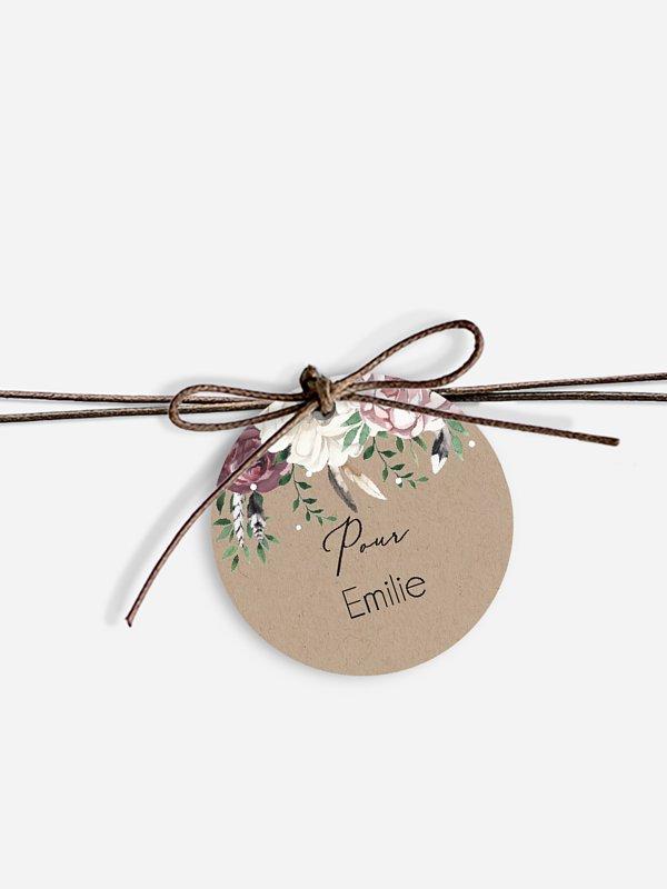 Étiquette avec ruban mariage individuelle Bohemian Summer
