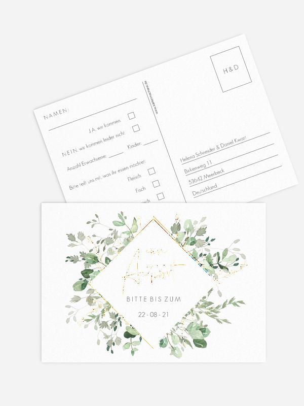 Antwortkarte Hochzeit Gold and Green