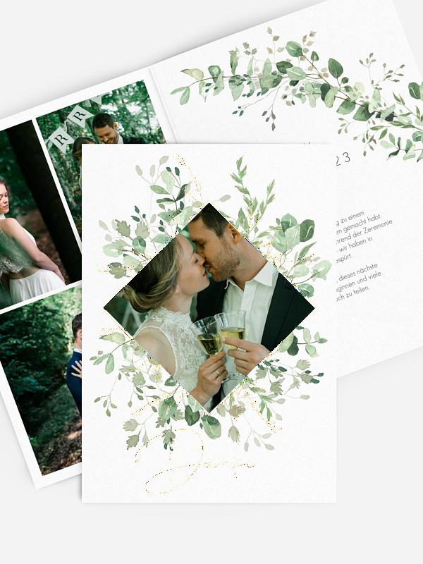Dankeskarte Hochzeit Gold and Green