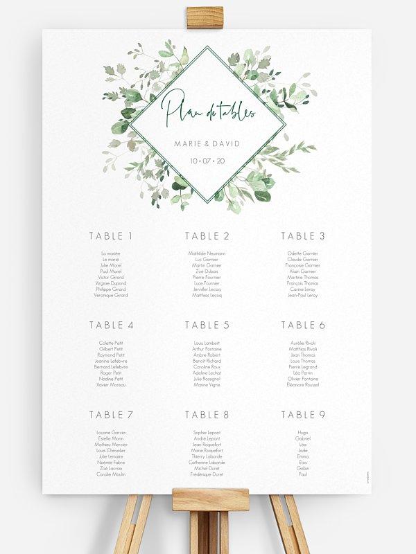Poster plan de table mariage Gold and Green - dorure