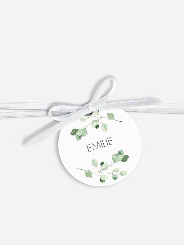 Étiquette avec ruban mariage individuelle Gold and Green - dorure