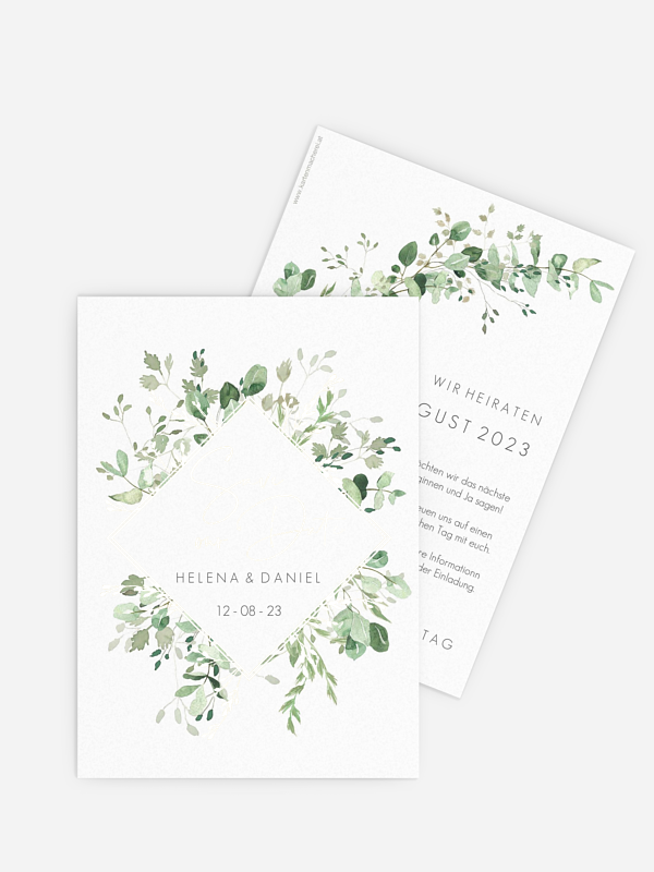 Save-the-Date Karte Gold and Green