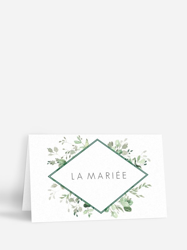 Marque-place mariage Gold and Green