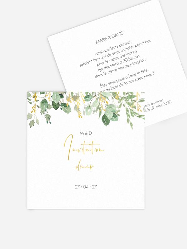 Carton d'invitation Gold and Green - dorure