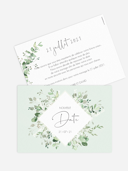 Carte mariage reporté Gold and Green - dorure