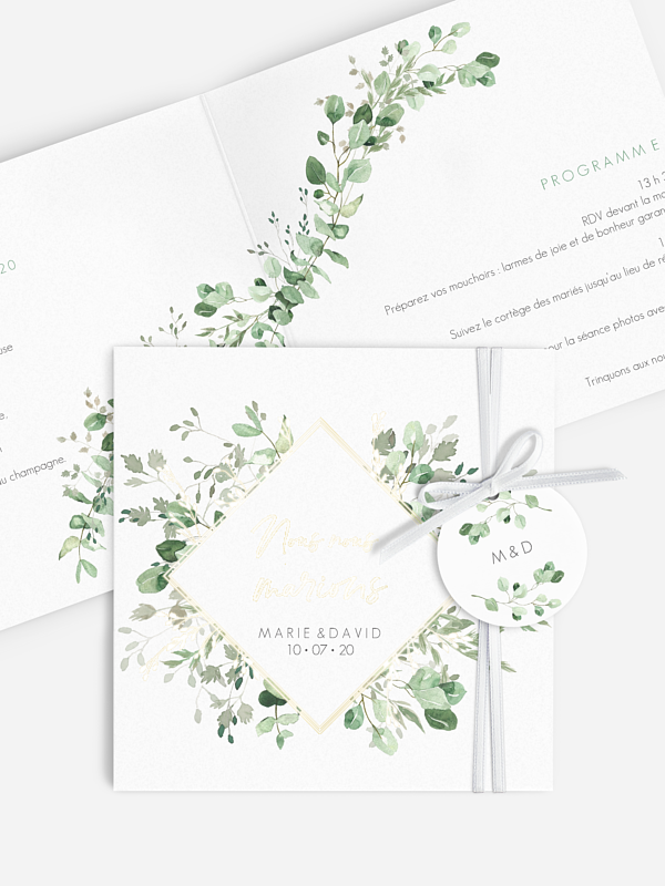 Faire-part de mariage Gold and Green - dorure