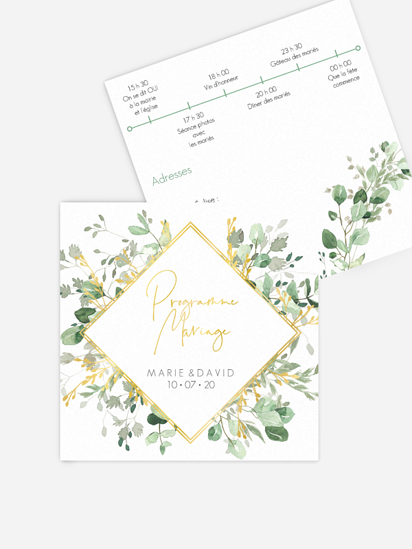 Programme mariage Gold and Green - dorure