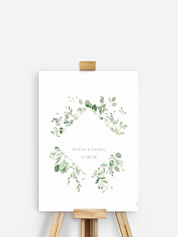 Poster bienvenue mariage Gold and Green - dorure