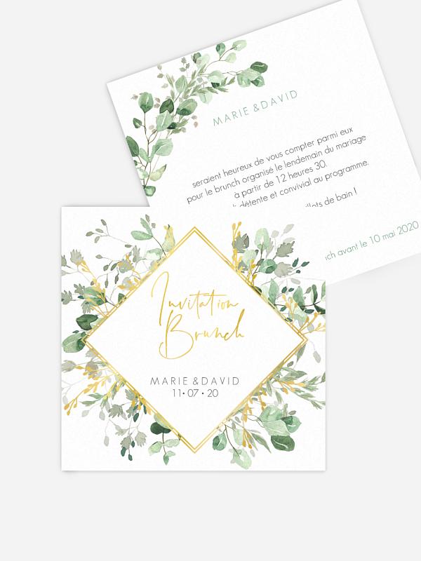 Carte brunch Gold and Green - dorure