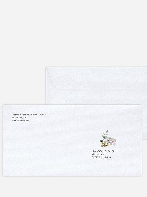 Bedruckter Briefumschlag Hochzeit Secret Garden
