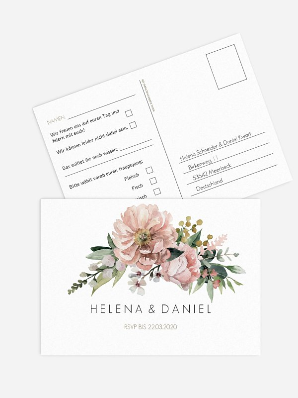 Antwortkarte Hochzeit Secret Garden
