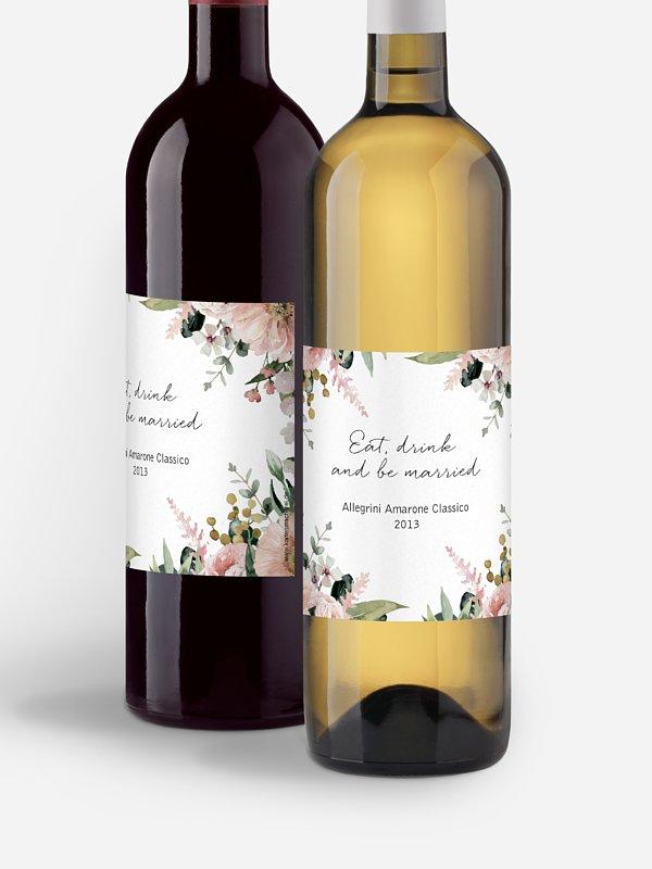 Flaschenetikett Hochzeit Secret Garden