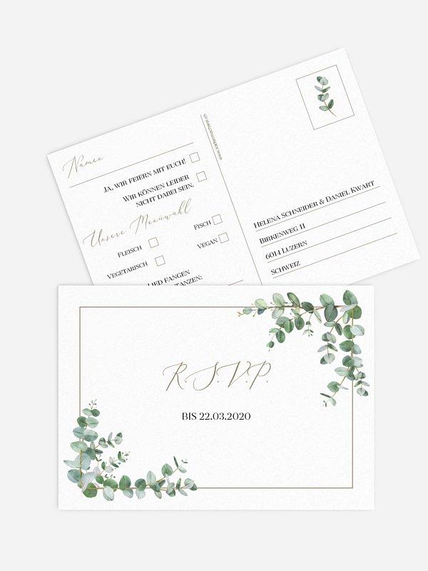 Antwortkarte Hochzeit Natural Greenery